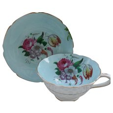 Paragon DW Queen Mary Robin's Egg Blue Floral Tulip Gold Teacup and Saucer