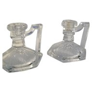 Vintage Pair Krys-tol Chippendale Style Fingerlamp Candlabra 1930
