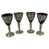 Four Czech Bohemian Ruby Cranberry Wine Glass Applied Enamel Flowers 24k Gold