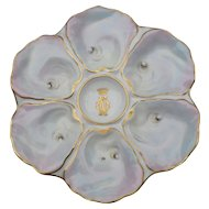 Rare Set of Twelve Six Well Paris Porcelain Le Rosey Iridescent Oyster Plates