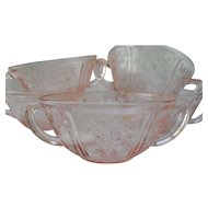 Federal Glass Company Sharon Cabbage Rose Two Handled Cream Soup Bowl