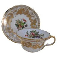 Elegant Spode Golden Valley Orchard Fruit Gold Encrusted Teacup and Saucer Y7049