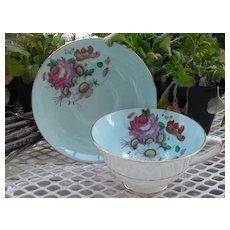 Paragon DW Queen Mary Robin's Egg Blue Floral Rose Gold Teacup and Saucer S 6072