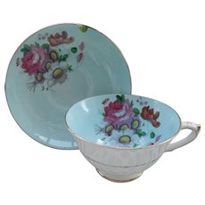 Paragon DW Queen Mary Blue Floral Rose Gold Teacup and Saucer S 6072