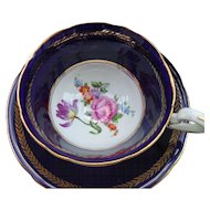 Aynsley Footed Floral Cobalt Blue Gold/Gilt Teacup and Saucer