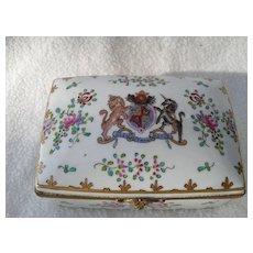 Antique Limoges Armorial Heraldic Porcelain Jewelry Trinket Box