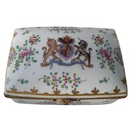 Antique Limoges Armorial Heraldic Porcelain Jewelry Trinket Box