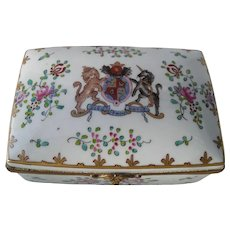 Antique Limoges Armorial Heraldic Porcelain Trinket Box