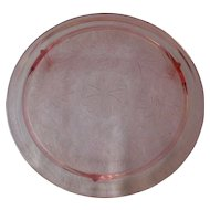 Jeannette Pink Depression Glass Sunflower Footed Cake Plate