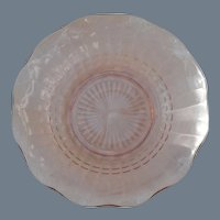 Pair of Delicate Pink Depression Glass Ruffled Bowl