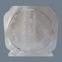 Jeannette Glass Adam Pattern Pink Depression Glass Plate