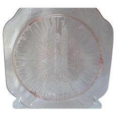 Jeannette Glass Co Adam Pattern Pink Depression Glass Footed Cake Plate