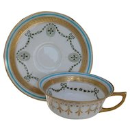 Early Gold Encrusted Garlands/Cross Royal Doulton Batwing Teacup and Saucer