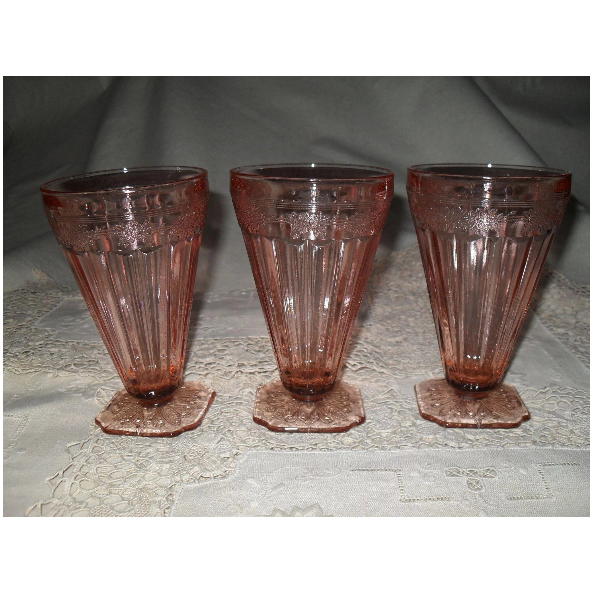 """Vintage Jeannette Adam 5 1//2/"""" Pink Footed Iced Tea Tumblers Up To 5."""