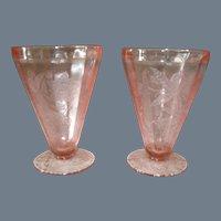 Jeannette Depression Glass Floral/Poinsettia Tumbler