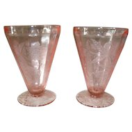 Jeannette Pink Depression Glass Floral/Poinsettia Water Tumbler