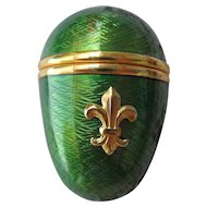Gorgeous Green Guilloche Pill Egg with Fleur de Lis