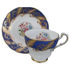 Paragon Cobalt Blue Floral Rose Teacup and Saucer