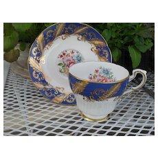 Paragon Corset Shape Cobalt Blue Floral Rose Teacup and Saucer