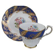 Paragon Corset Shape Cobalt Blue Floral Rose Teacup and Saucer