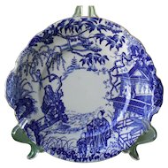 Royal Crown Derby Blue Mikado Cake Serving Plate Tab Handles