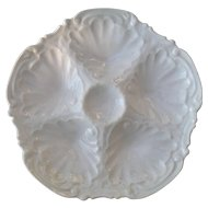 Antique Coiffe Limoges White Porcelain 5 Well Oyster Plates Green Star Mark
