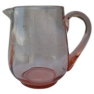 Vintage Pink Depression Glass Pitcher Etched Flower