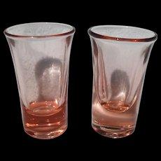 Pair of Pink Depression Glass Vodka Stems Shot Glasses