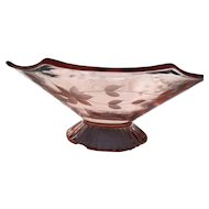 Elegant Pink Glass Etched Floral Console Bowl