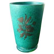 Gustavsberg Sweden Turquoise Argenta Silver Overlay Vase 1157