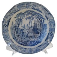 Lovely early Davenport 'Chinoiserie Ruins ' Rimmed Soup Bowl Plate 1815
