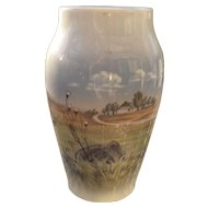 "Vintage Royal Copenhagen Denmark Farm Landscape Vase 2695 2037 6"" Signed"