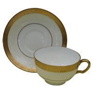 Minton Buckingham Teacup and Saucer Gold K-159