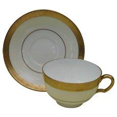 Minton Buckingham Teacup and Saucer Gold K-159
