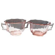 Cambridge Pink Depression Glass Decagon Creamer and Open Sugar Bowl