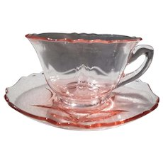 Vintage Cambridge Pink Depression Glass Teacup and Saucer