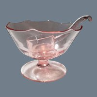 Vintage Pink Depression Glass Mayonnaise Bowl and Ladle