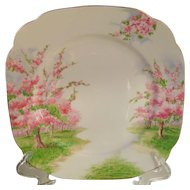 "Royal Albert Blossom Time Spring Green Grass Square Dinner Plate 9 5/8"" 1936"