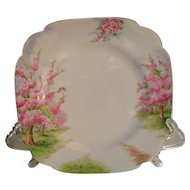 "Royal Albert Pink Blossom Time Spring Green Grass Square Salad Plate 7 3/4"" 1936"