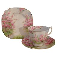 Royal Albert Pink Blossom Time Spring Green Grass Teacup Saucer Plate Trio 1936