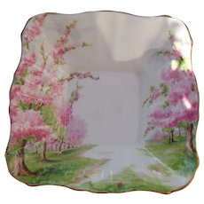 Royal Albert Pink Blossom Time Square Nut Serving Dish