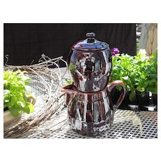 Rare Antique Primitive Stoneware 4 Pc Coffee Pot with Infuser and Biggin