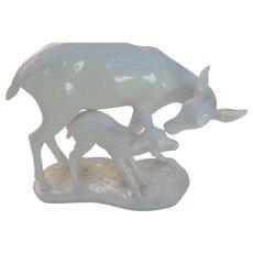 Vintage Noritake Toki Kaisha White Deer and Baby Doe Figurine