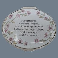 Halcyon Days Exclusive Handpainted Enamel Mother is a Special Friend Pill Box