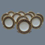 Eleven Antique Mintons Gold Encrusted Cobalt Blue Rim Soup Bowls K66 1891-1902