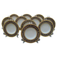 Eleven Antique Mintons Gold Encrusted Cobalt Blue Rim Soup Bowls K66 1891-1902