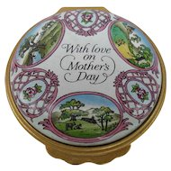 "Beautiful Halcyon Days 'With Love on Mother's Day"" Enamel Trinket/Pill Box 1994"