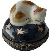 Vintage Limoges Sleeping Cat with Gold Stars Cobalt Blue Pill Trinket Box