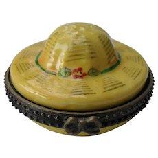 Vintage Limoges Peint Main Sun Hat Figural Trinket Pill Box with Miniature Hat