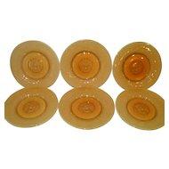 Six Art Nouveau Reijmyre Sweden Roaring Lion Moulded Amber Yellow Plates